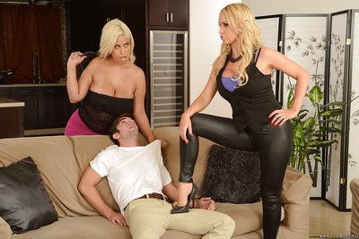 Fantabulous two men plus one female with cute milfs named Bridgette B and Nikki Benz