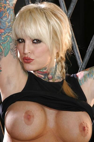 Sweaty MILF in glasses Janine James uncovering her seductive tattooed turns