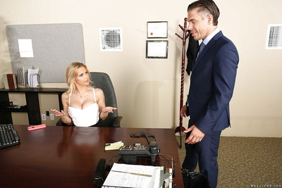 Titsy secretary Rachel RoXXX freeing vast MILF mangos in advance of gloryhole bj