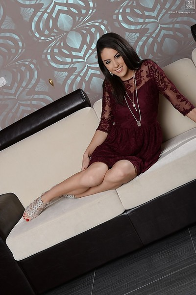Lass Carolina Abril goes from utterly dressed to as was born afterwards striptease