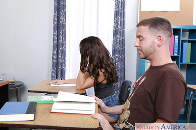 Appealing coed Kharlie Stone orally fixating and very ramrod in classroom