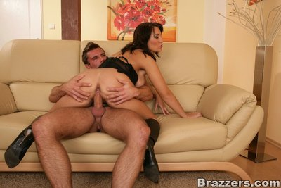 Sexually excited MILF Chantal Ferrera got screwed and got her zeppelins jizzed