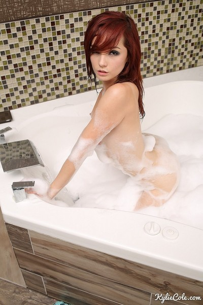 Redhead young bathing