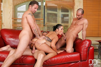 Milf babe from Europe Angelica Heart enjoys having gangbang