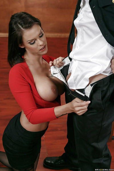 Chesty secretary Peta Jensen having enormous getting pleasure bags played with by officer