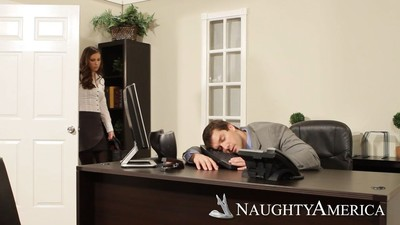 Lascivious boss casey calvert team-banged at put into