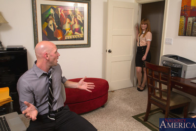 Redhead worker pretty acquires bonked by her boss and admires peak of pleasure on the floor.