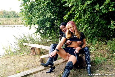Twofold teen exhibitionist assistants cookie and sammy on a day out