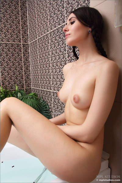 Compact amateur vanessa rubs body with lotion subsequently a baths