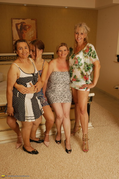 Four old and juvenile lesbian babes getting appealing