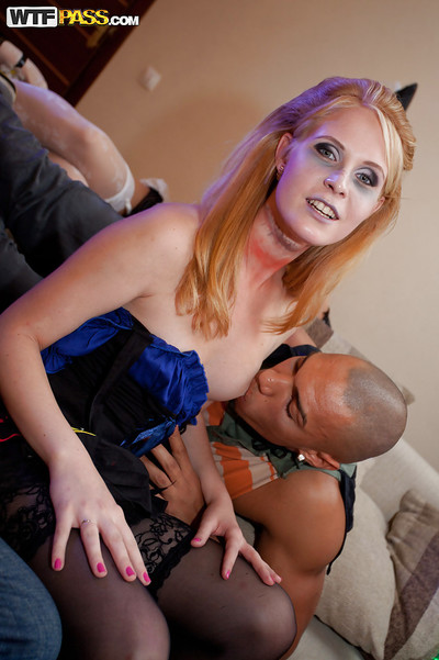Lustful coeds have fun a sexy group sex at the halloween home munch