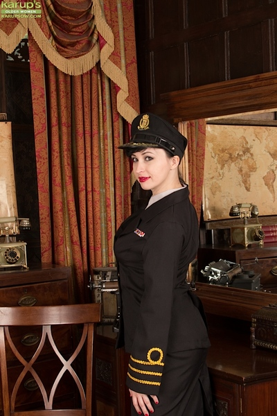 Full-grown MILF Nikita thrashing extreme glamour way in uniform and hat