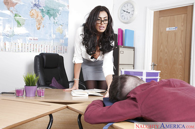 Latin chick daddy Ava Koxxx  largest cougar juggs sooner than giving student bj