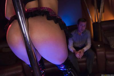 Latin babe stripper Abella Danger strutting in OTK boots