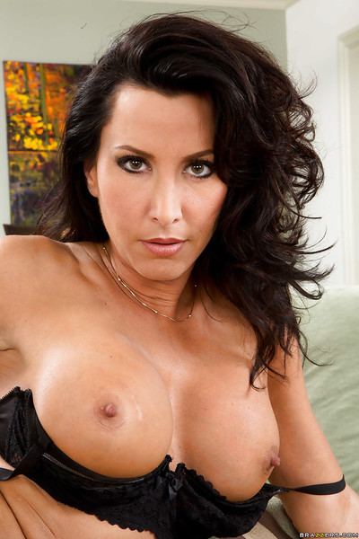 Babe dark hair Lezley Zen shows off her useful tough nipps and love melons