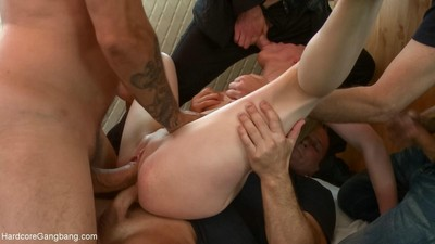 Diminutive russian hotty receives rough penetrated by group of boys