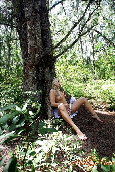 Attractive blond number one timer Ashley Fires flashing upskirt underclothing in woods