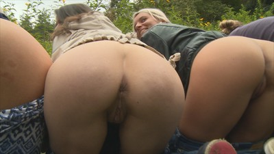Youthful outdoor gangbang photos