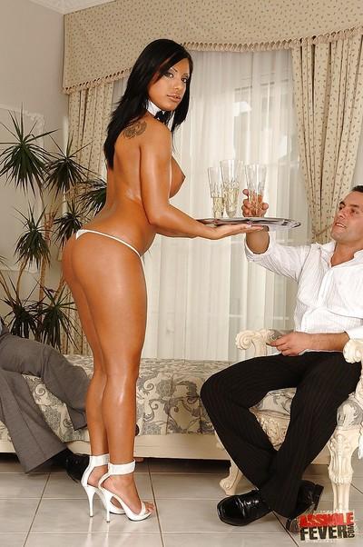 Breasty cock-sucker Kyra Ebony enjoys hardcore anal gangbanging