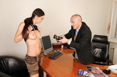 European office cunt Diana Stewart engulfing knob and getting gangbanged