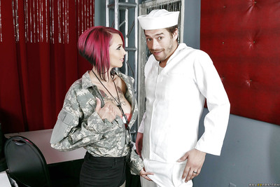Titsy young army clerk Anna Bell Peaks tit bonked by sailor gentleman