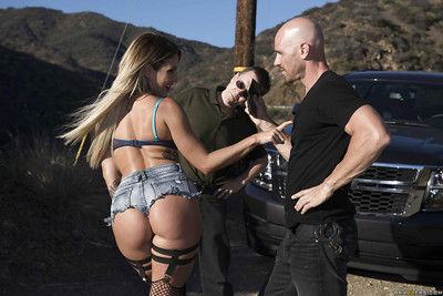 Damp blond bombita Kissa Sins shows huge amount of apple bottoms bottom short denim strings