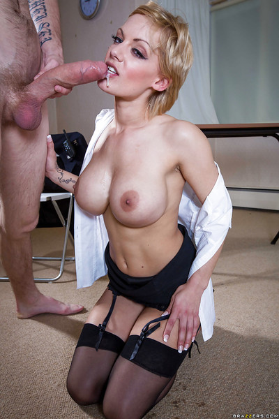 Uniformed model LouLou has her gentile pounded severe in a office