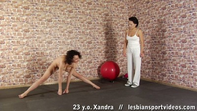 Sports lesbian hotties amplifying and cum-hole eating