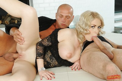 Rounded fairy-haired temptress accepts her ashole elastic with twofold heavy cocks
