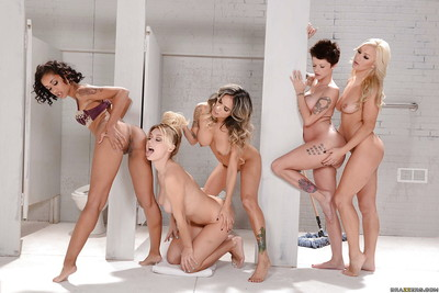 Moist lesbian chicks Nadia Styles, Natalia Starr and Skin Diamond toying themselves