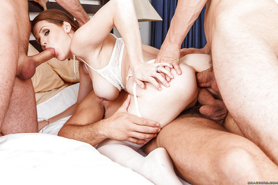 Concupiscent bride Allison Moore is attracted to foursome groupsex with well-hung stallions