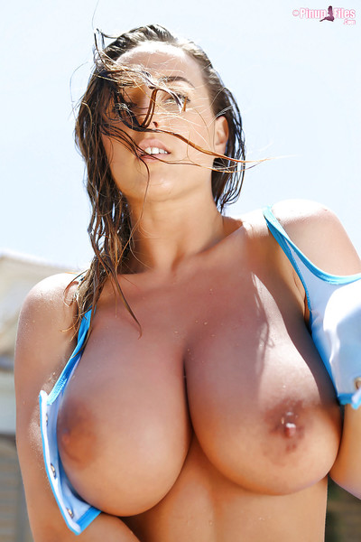 Buxom pinup sample Stacey Poole letting hard apples unleash from bikini dom