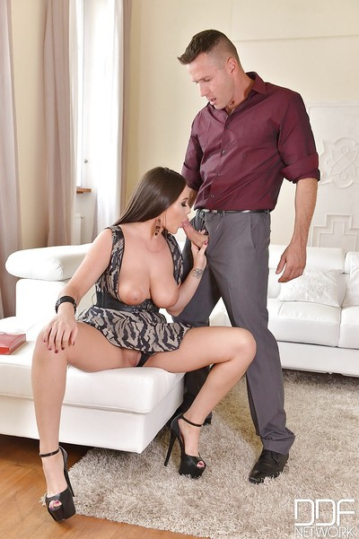 Rounded dark brown Rachele Richey deepthroating vast phallus even as giving oral play