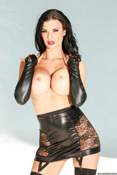 Sultry brunette hair MILF Jasmine Jae posing in leather Dear outfit and boots