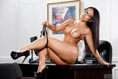 Glasses  Oriental solo darling Asa Akira unveiling expand pornstar cage of love