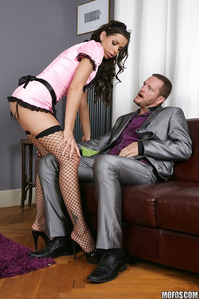 Meager european female house servant Ferrara Gomez attains anally group-fucked by her commander