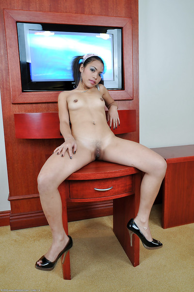 Miniscule Japanese young Chelle showing off her elegant pale stoops