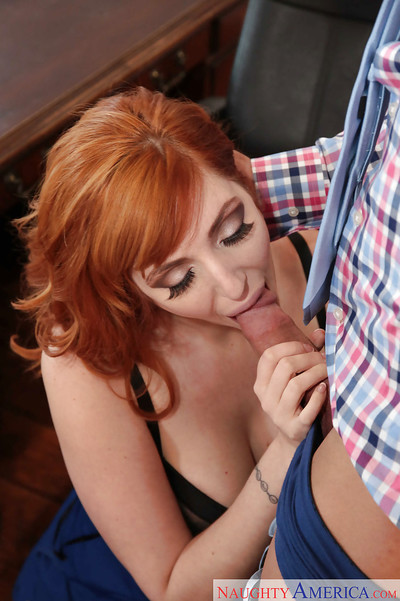 Redhead secretary Lauren Phillips giving co-worker fellatio in office