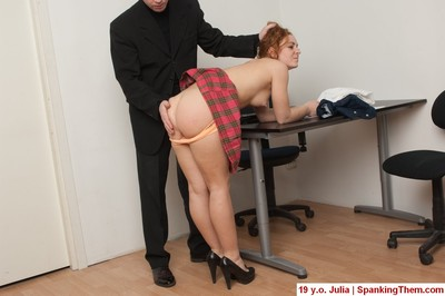 Redhead spanked youthful