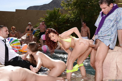 Appealing milfs Dani Daniels and Monique Alexander on a fanatical pool gathering