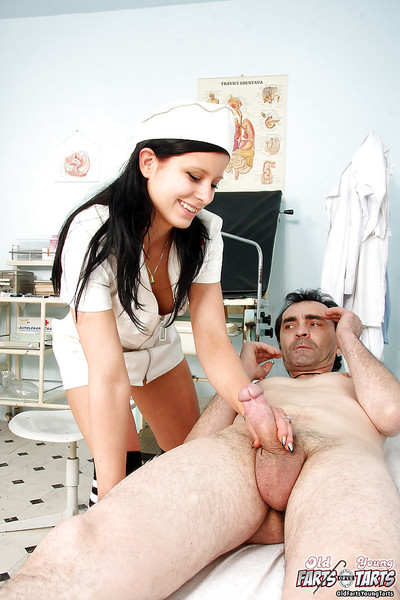 Pretty dark hair Nurse in uniform gives medical tolerant a cock masturbating