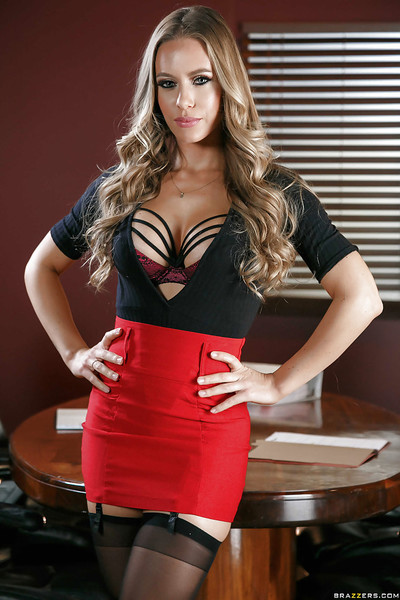 Fairy queen Nicole Aniston disrobes down to garters and  in office