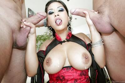 Concupiscent Japanese milf with large apples Jessica Bangkok eats abundant goo