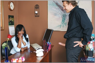 Ebony office secretary Jada Fire accepts her soaked ebony cage of love shafted massive
