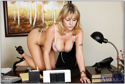 Hawt office lass Velicity Von showing a perspired stripping and jerking off