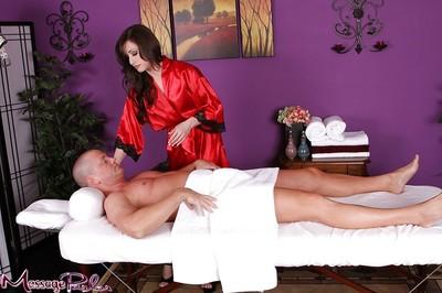 Brunette hair masseuse Jennifer White giving absolutely covered hand gig