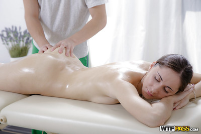 Oiled up brown hair Zarina blowing on a shlong afterwards getting a massage