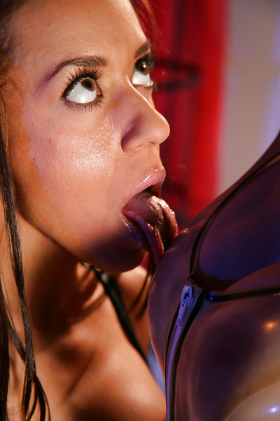 Sweaty latex lesbian cuties in high heels and gloves apparatus every others drenched wet cracks