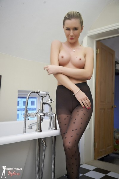 Just right blond sam in a biggest bubbly shower in patterned tights