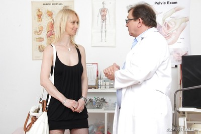 Granny fairy woman Nelly being examined by a non-traditional doctor